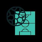 Animerad bild fotbollsplan + boll