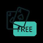 """Animerad bild av Ess + knekt och ordet """"free"""""""
