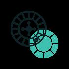 Animerad bild av roulettehjul & spelmark