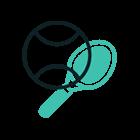 Animerad bild av ett tennisracket och boll