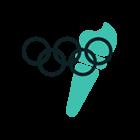 Animerad bild av olympiska ringarna + fackla