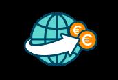 Animerad bild av världen med två euromynt och en vit pil